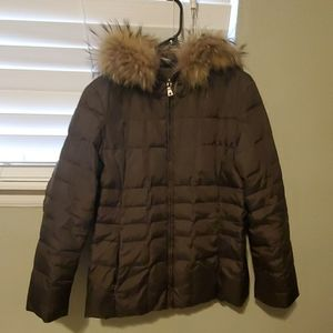 Marc New York brown puff coat with fur lined hood